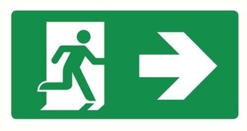 Bordje (pp) Nooduitgang rechts