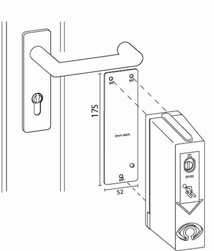Montageplaat voor brandvertragende deur exit control