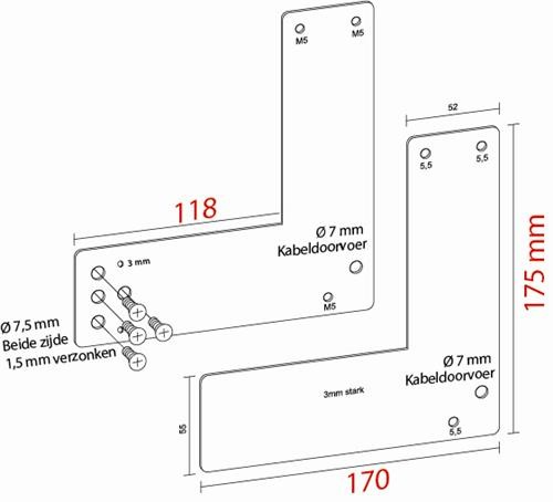 Montageplaat voor Glasdeur 17,5 cm Exit Control