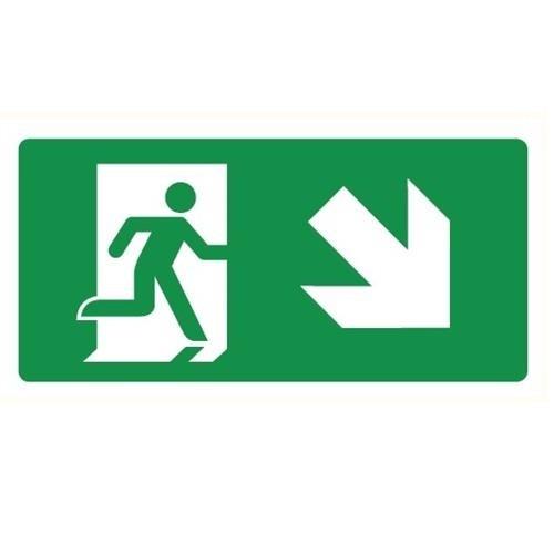 Bordje Nooduitgang rechts omlaag. Betekenis pictogram: je moet rechts naar beneden om bij de nooduitgang te komen.