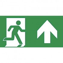 Pictogram DL275 nooduitgang/rechtdoor (deur links) 330x120mm